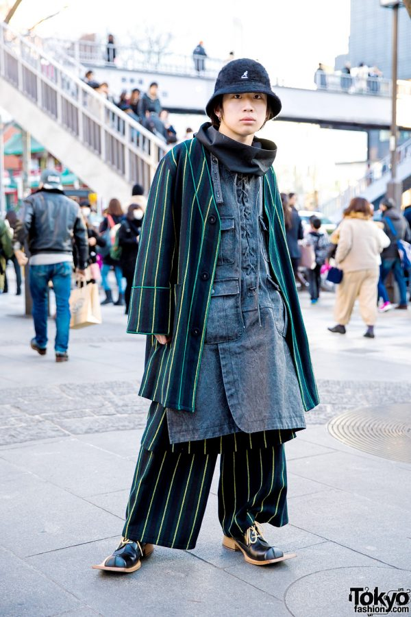 Japanese Streetwear Style w/ Kidill Coat, Kangol Bucket Hat & Vintage Shoes