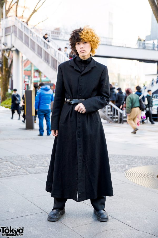 Harajuku Guy w/ Two-Tone Hair in All Black Vintage Street Style & Guess Leather Buckle Shoes