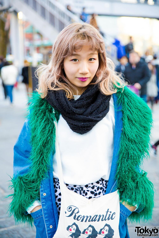 Japanese Street Fashion W Denim Faux Fur Coat Dalmatian