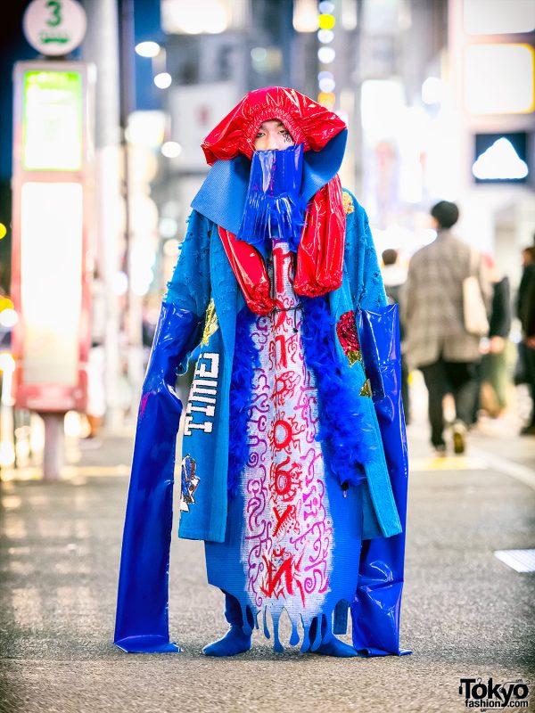 Avantgarde Japanese Street Fashion w/ Dog Harajuku Sequin Robe & Handmade Hat