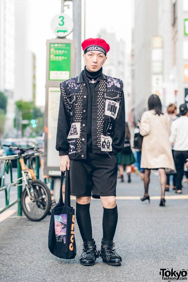 Harajuku Guy in Red Beret, Dog Harajuku Studded Vest, Phenomenon Turtleneck, Dressedundressed Shorts, KTZ Shoes & UNIF Bag