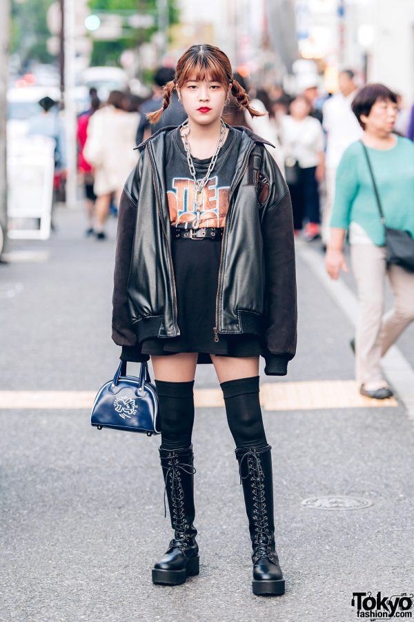 Harajuku Girl in Twin Braids and All-Black Vintage Street Style