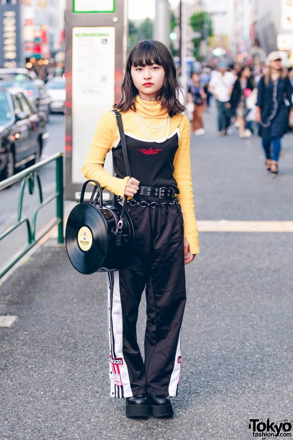 Japanese Student in Faith Tokyo Top, Peco Club Shoes, and G2? Vinyl Record Bag