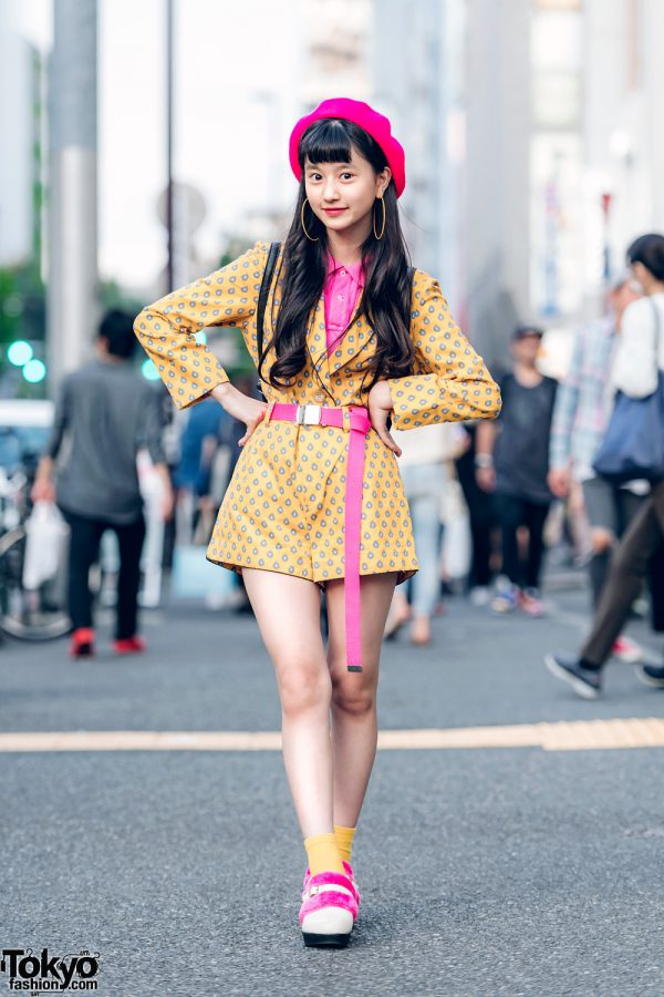 Japanese Model/Actress in Vintage Color-Coordinated Street Fashion