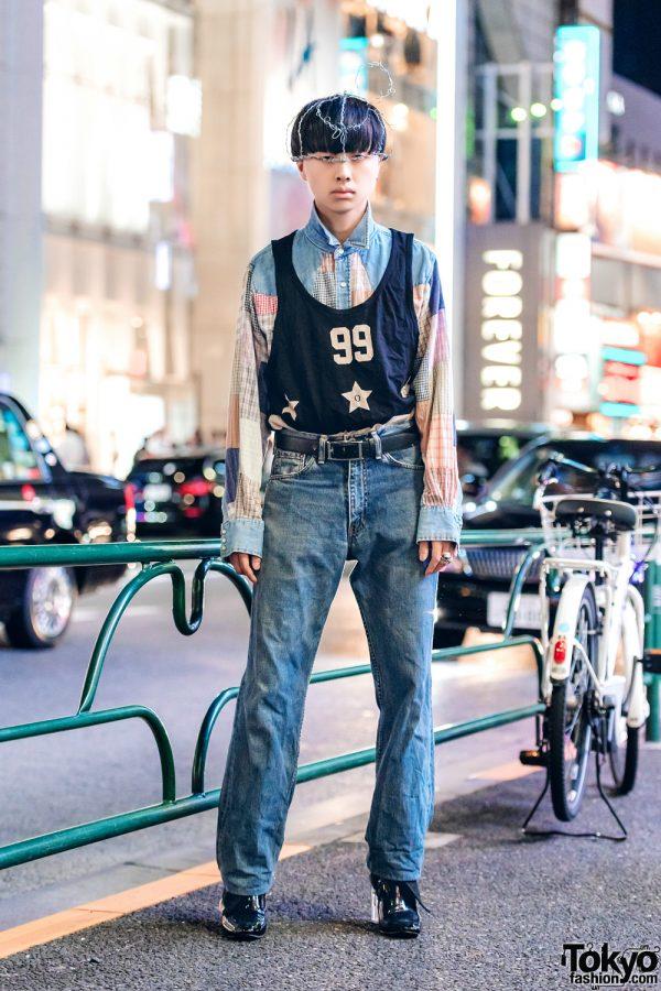 Harajuku Guy in Vintage & Handmade Menswear Street Fashion