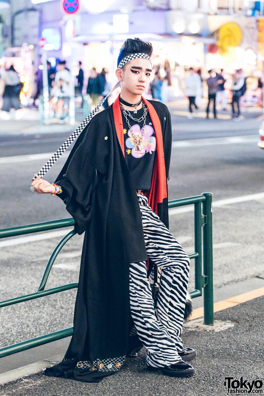 Japanese Streetwear W/ Kimono Coat, Peco Club, WC Harajuku
