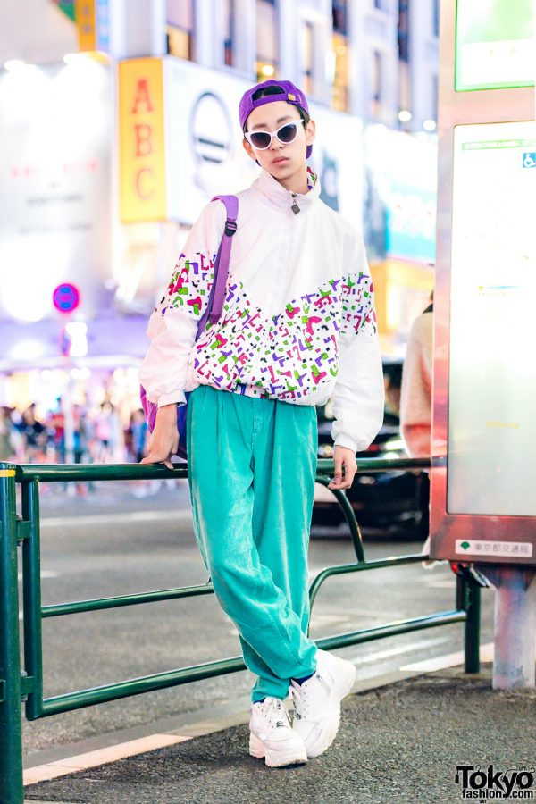 Japanese Boy's Cute Street Style w/ RRR Vintage Outfit, Yosuke Sneakers, Peco Club Backpack & Oh Pearl Glasses