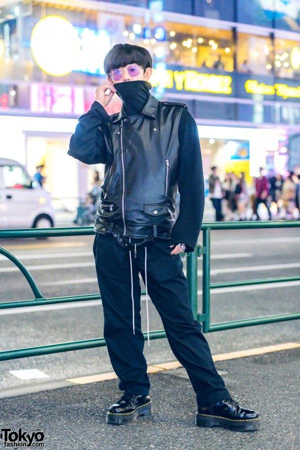 All-Black Leather Menswear Street Style w/ Uniqlo, Dr. Martens & Maison Martin Margiela