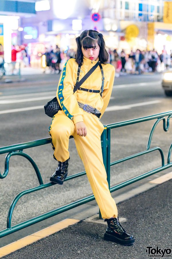 Harajuku Girl in Yellow Tracksuit w/ Kappa, Y-3, King Family & Romantic Standard