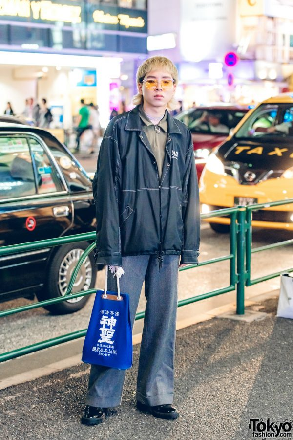 Blond-Haired Harajuku Guy in Vintage Menswear Street Style