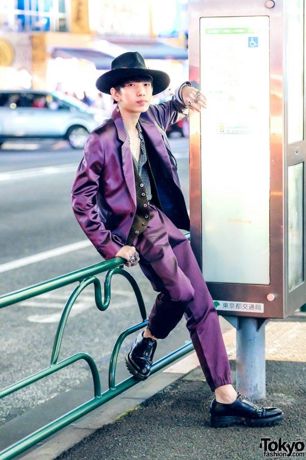 Purple Paul Smith Suit & Black Fedora Tokyo Street Style