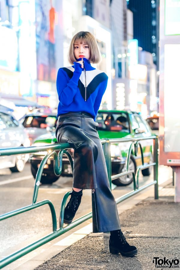 Harajuku Girl in Zara Zip-Up Top, Faith Tokyo Leather Pants &Black Suede Lace-Up Boots