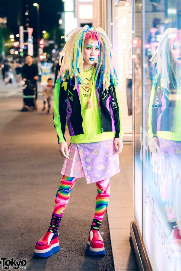 Kawaii Harajuku Street Fashion w/ 6%DOKIDOKI Rainbow Tights, Cyber Hair Falls, Cyberdog & Platform Boots