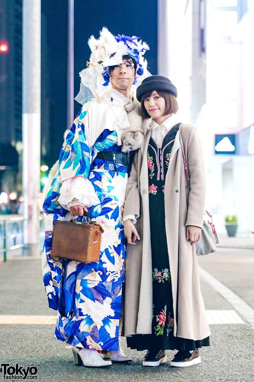 Blue Kimono & Vintage Japanese Street Fashion in Harajuku w/ Robe Japonica Items