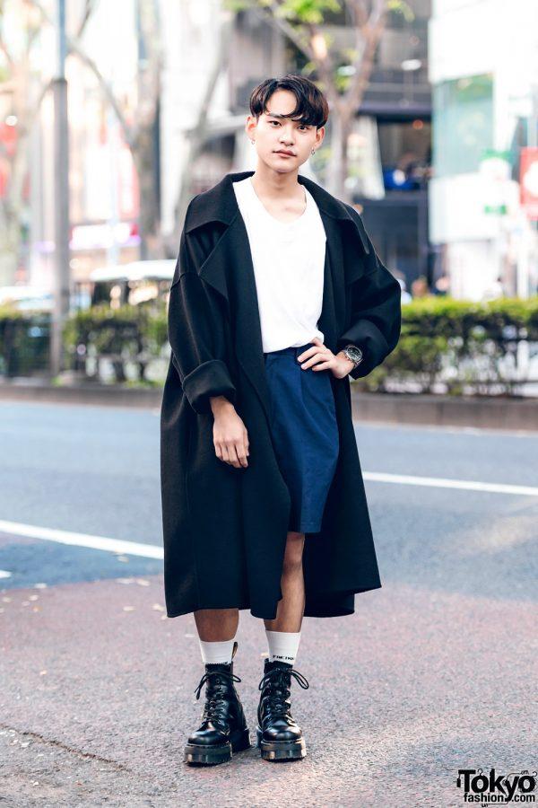 Harajuku Chef in Zara Maxi Coat Street Fashion w/ Acne Studios T-Shirt & Dr. Martens Boots