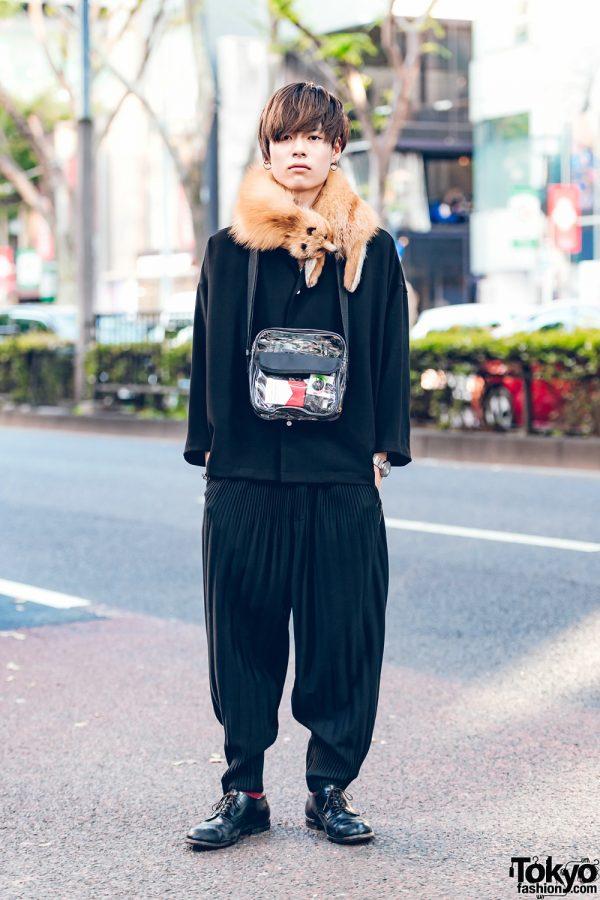 Japanese Model in Black Street Fashion w/ Studious, Issey Miyake, An Old Joke & Chrome Hearts