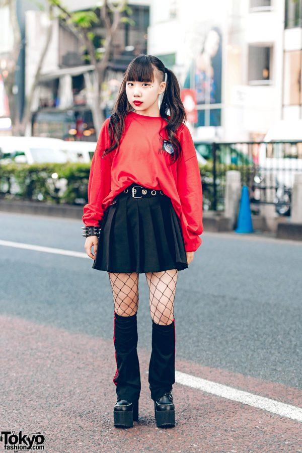 Harajuku Girl in Red & Black Street Style w/ M.Y.O.B, Dolls Kill & New York Joe