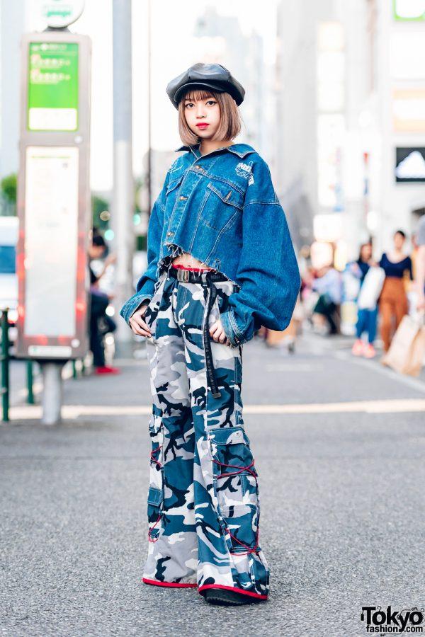Harajuku Girl in Distressed Jean Jacket & Camouflage Print Pants, Leather Beret & MYOB Belt