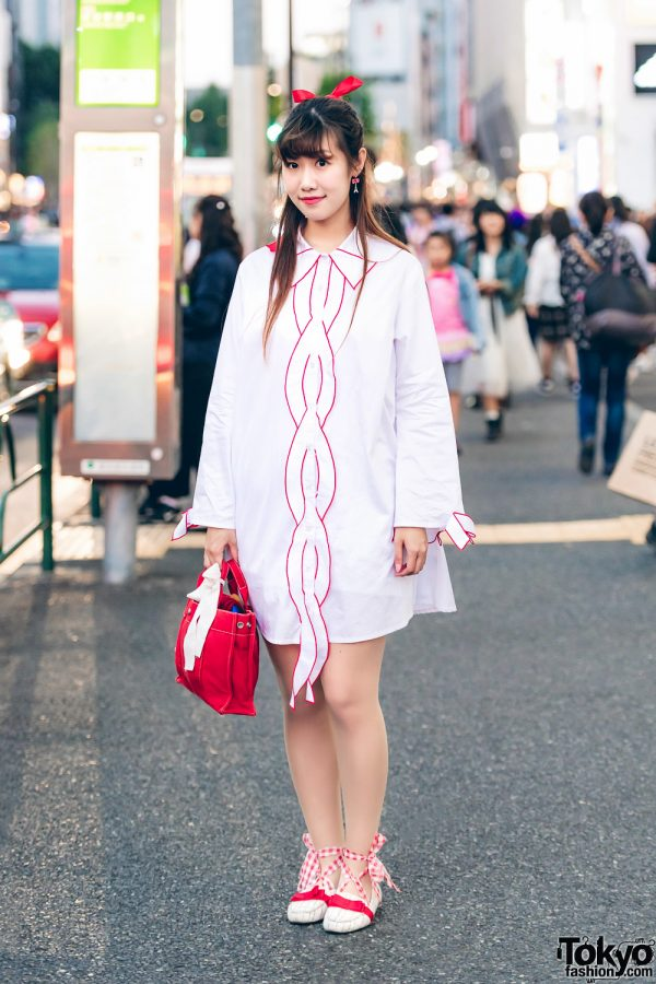 Red-and-White Japanese Street Style w/ Candy Stripper, Hermes & Oriental Traffic