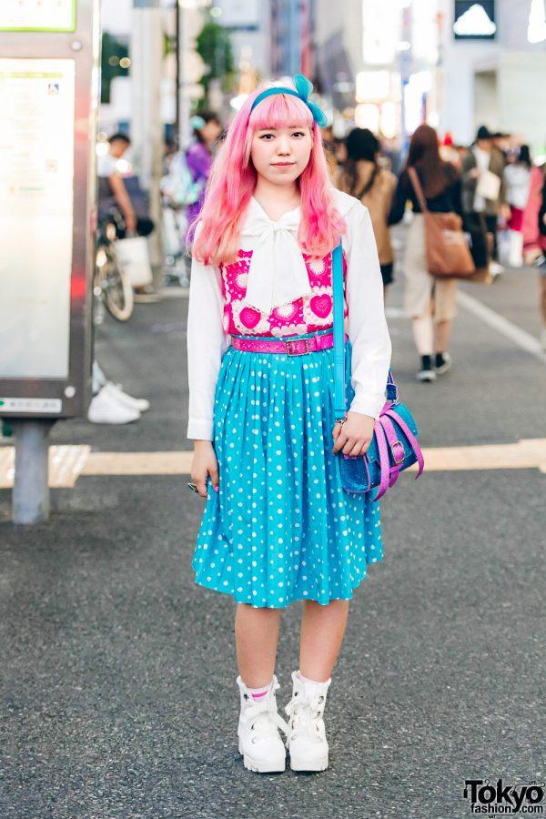Pink-Haired Harajuku Girl in Tri-Color Fashion Style w/ Candy Stripper, Lagrace Mart, Kiki & Kilo Shop