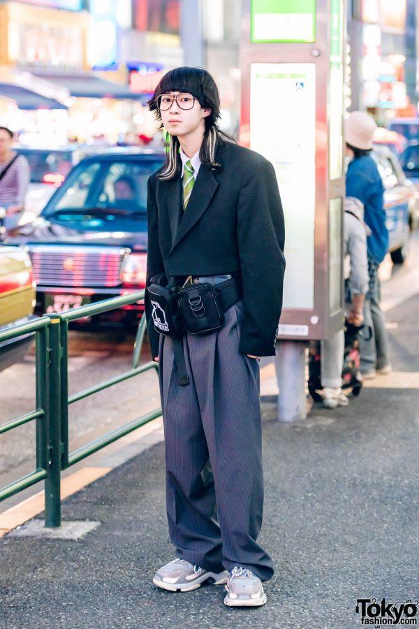 Japanese Mens Streeetwear w/ Vintage Cropped Blazer, Perverze, Balenciaga & Pameo Pose Waist Bag