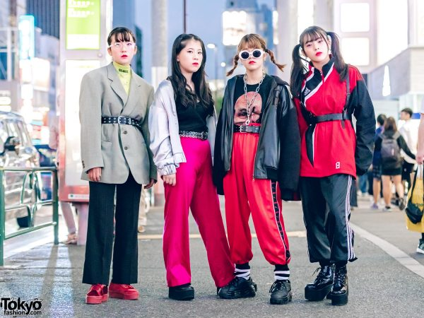 Harajuku Girl Squad in Black & Red Street Styles w/ Faith Tokyo, Adidas, Superga, H&M, Call Me Baby, Puma & Bubbles