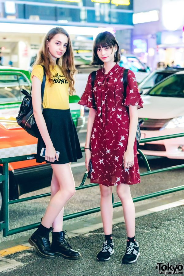 Harajuku Models in Casual Street Styles w/ Dr. Martens Boots, New Balance Sneakers & Louis Vuitton Backpack