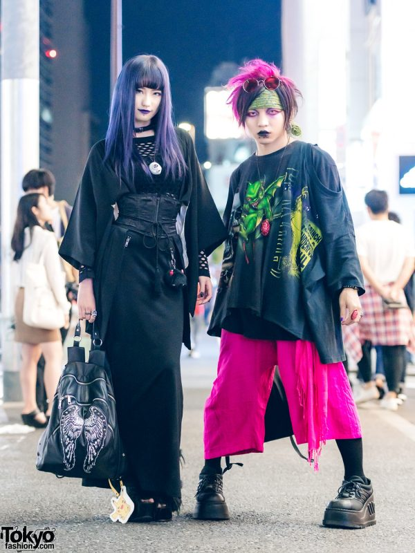 Harajuku Duo in Dark Streetwear Fashion w/ H&M, Jeffrey Campbell, Vivienne Westwood, Glad news, A.K. Production, Shibakoro & Demonia