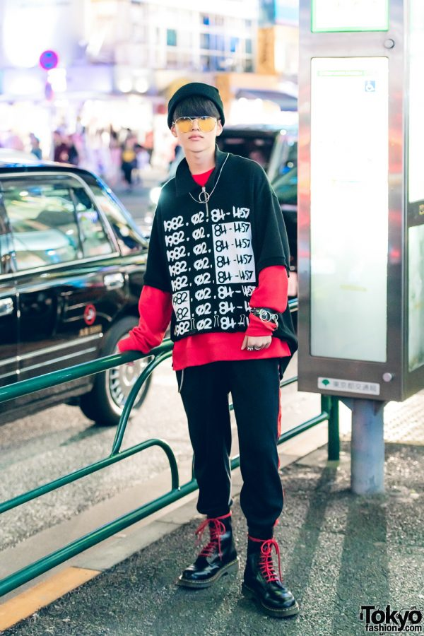 Harajuku Guy in Black & Red Streetwear w/ Never Mind the XU, Spinns, Chanel & Dr. Martens