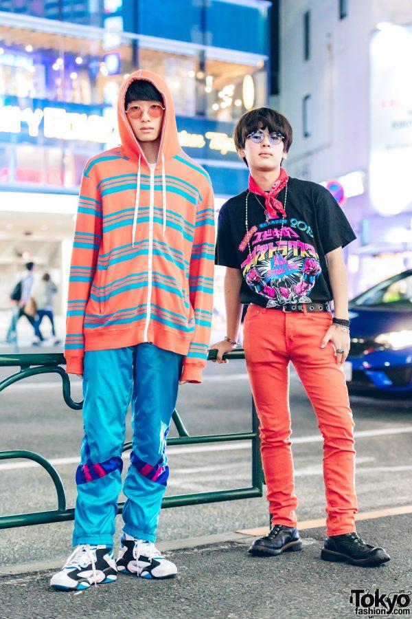 Harajuku Duo in Colorful Menswear Street Styles