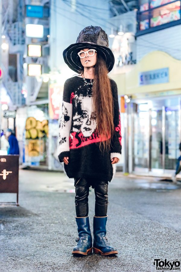 Edgy Harajuku Menswear Street Fashion w/ Top Hat, Graphic Sweater, Black Means Leather Pants & GM Boots