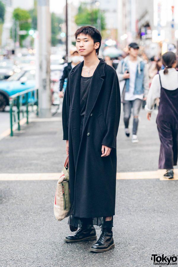 All Black Vintage Street Style w/ Max Mara Coat & Dr. Martens Boots