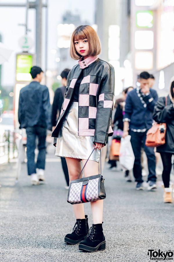 Harajuku Streetwear w/ Checkered Leather Jacket, Faith Tokyo Top, Metallic Skirt & Gucci Handbag