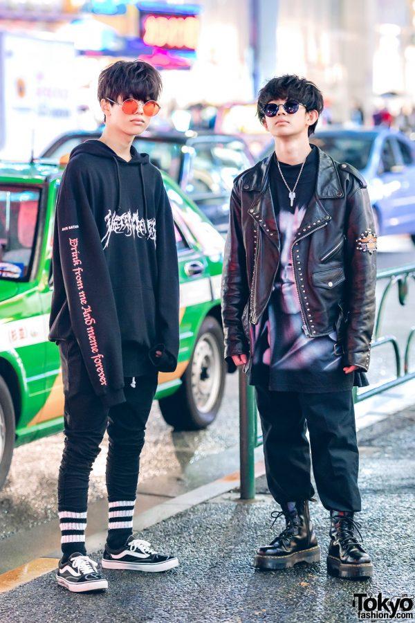 Harajuku Teens in Black Menswear Street Style w/ Vans, Uniqlo, H&M, Vetememes, Never Mind the XU & Dr. Martens