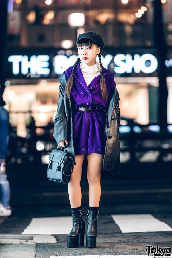 Harajuku Girl in Leather Coat, Purple Playsuit & Dolls Kill Platform Boots