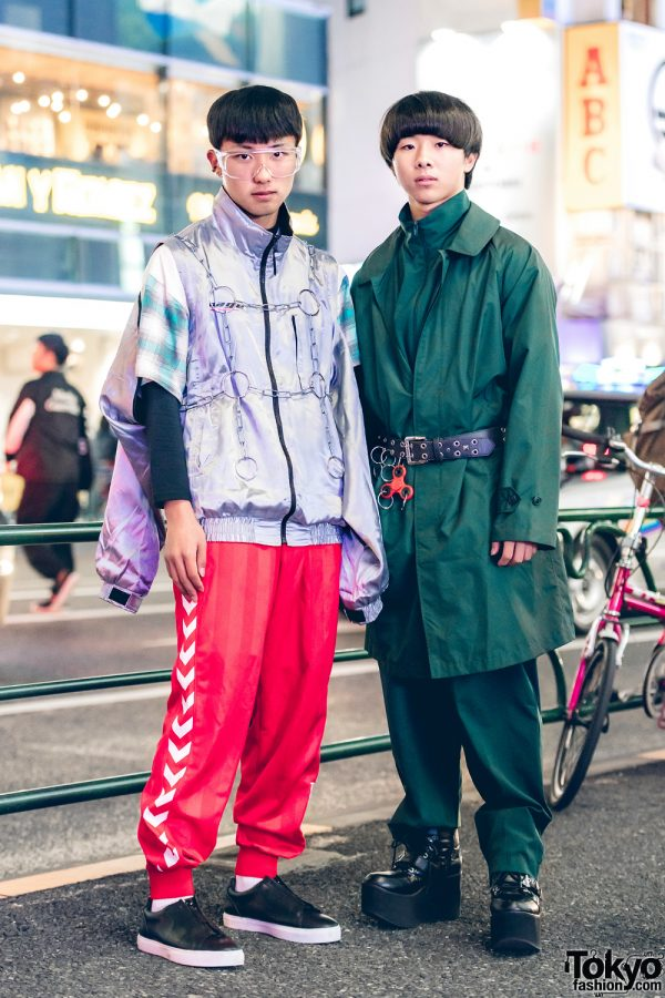 Harajuku Menswear Street Fashion w/ Mizuno Jacket, Hitsuji Plaid Shirt, Red Track Pants & All-Green Outfit