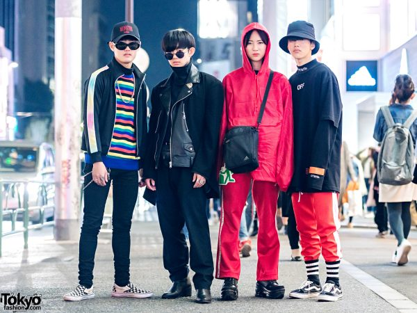 Harajuku Teen Group in Modern Japanese Streetwear Fashion