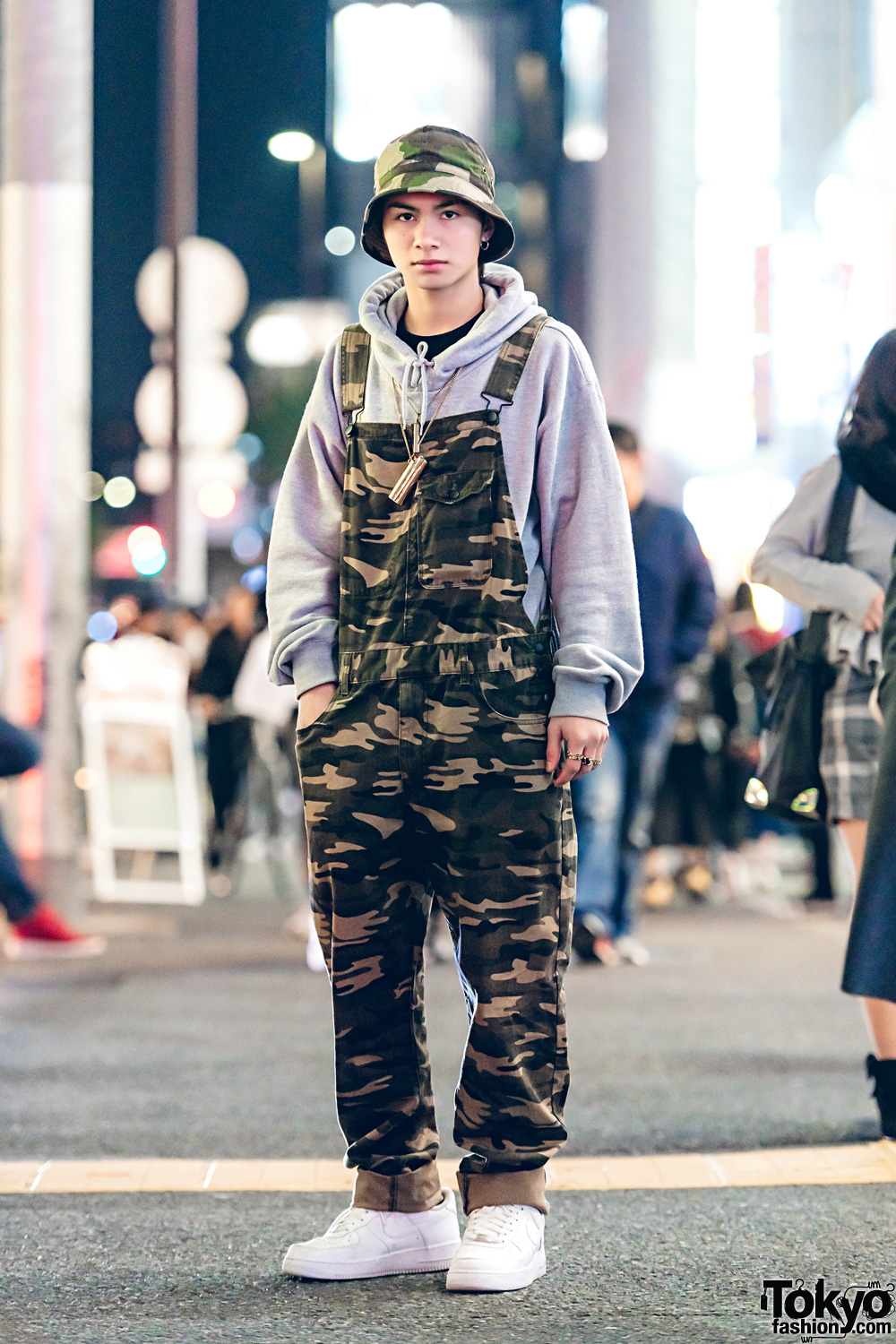 Camouflage Print Overalls & Grey Hoodie Japanese Street Style