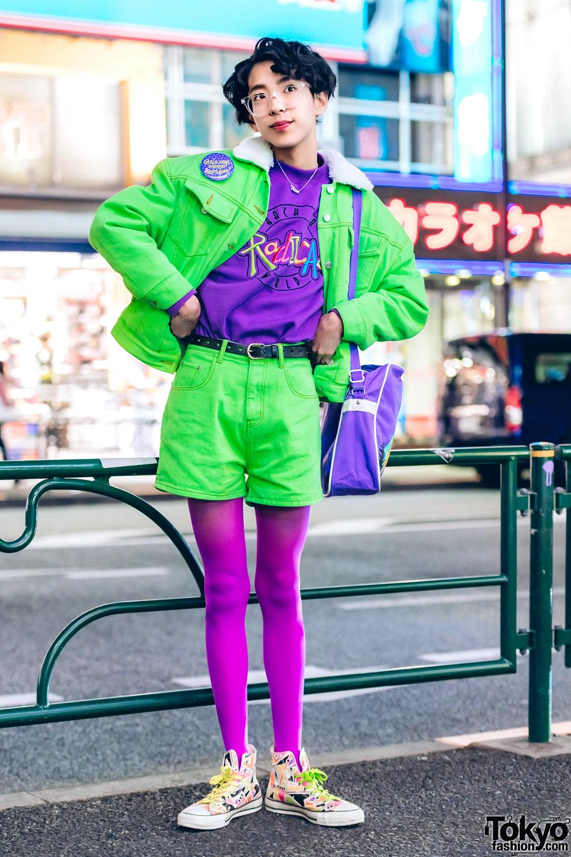 Harajuku Girl in Pinnap Fashion w Vintage Esleep & Converse