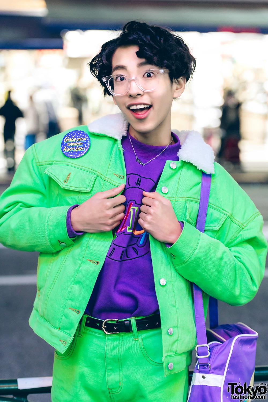 Harajuku Boy In Colorful Fun Street Style W/ Peco Club, E