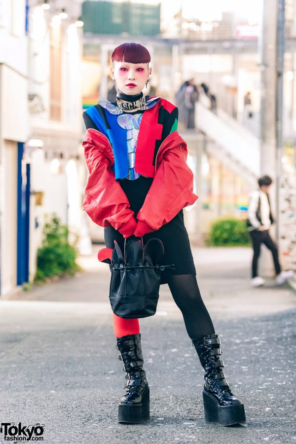 Neuron Nailz Tokyo Artist in Avant-Garde Street Fashion w/ Moschino, Patent Boots, Petal Handbag & Statement Collar