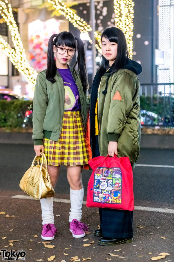 Harajuku Teens in Bomber Jackets & Plaid Fashion w/ Vivienne Westwood Bag & WC Japan