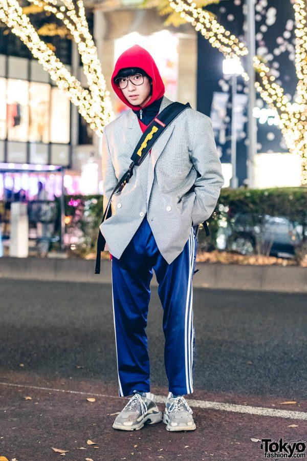 Harajuku Guy in Sporty Menswear Street Style w/ Comme des Garcons, Adidas & Balenciaga