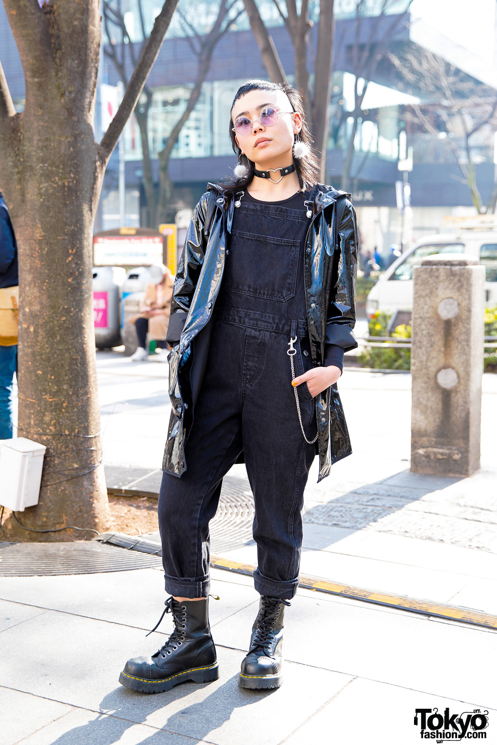 Harajuku Street Style w/ Shaved Hairstyle, Heart Choker, Vinyl Jacket & Dr. Martens Boots