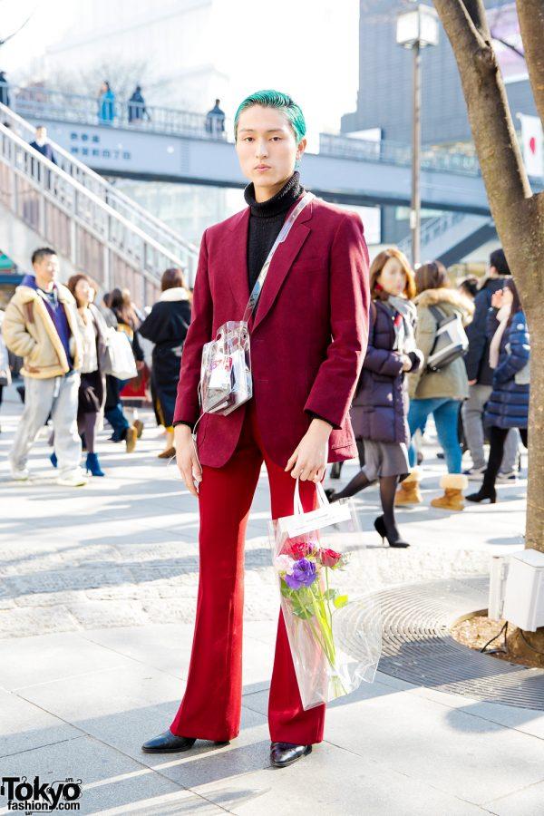 Aqua-Haired Valentino Japan Staffer in Stylish Suit w/ NaNa-NaNa Bag & Gucci Chain Belt