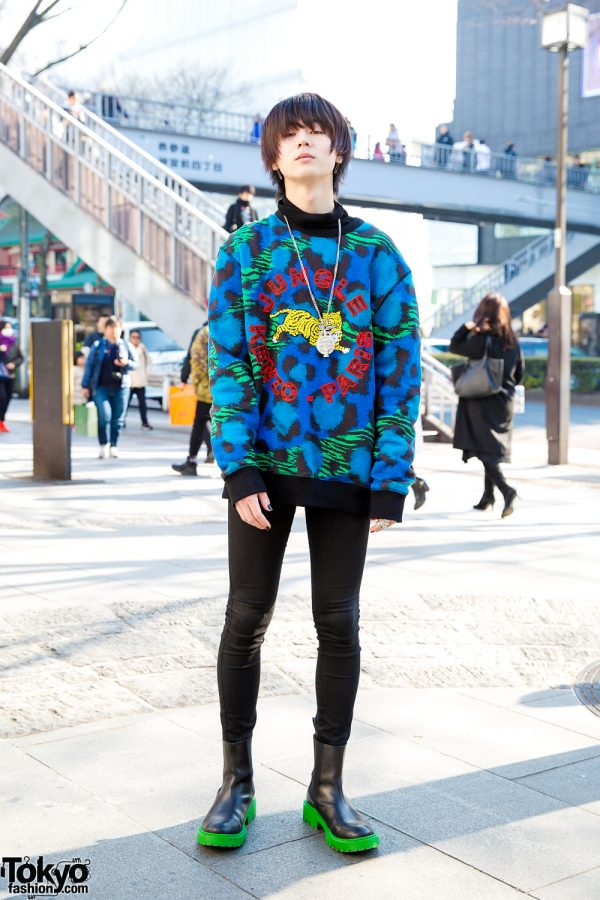 Japanese Model in Colorful Kenzo Jungle Sweater, Diesel & Vivienne Westwood