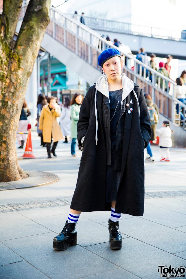 Japanese Freelancer in Artsy Fashion Style w/ Hand-Me-Downs, Vintage Pieces & Bubbles Platform Boots