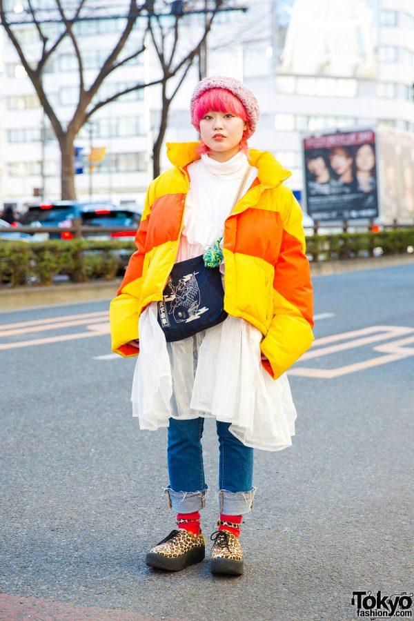 Pink-Haired Harajuku Girl in Ramarama Dress, Tokyo Bopper Shoes & Handmade Accessories
