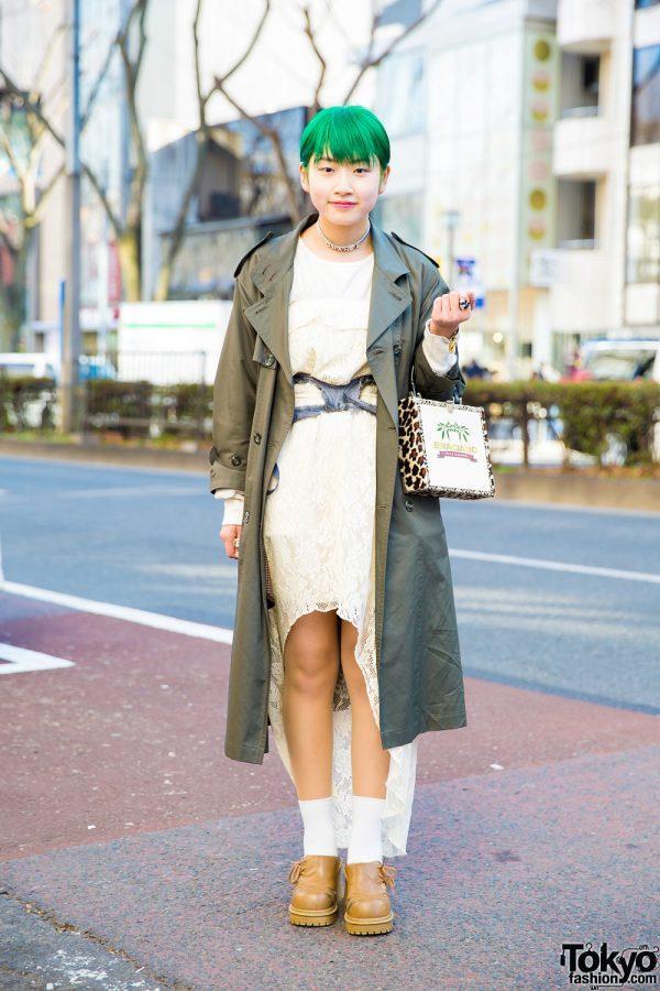 Green-Haired Harajuku Girl in Chic Vintage Fashion w/ Chanel Choker & Punk Cake Cigar Box Bag