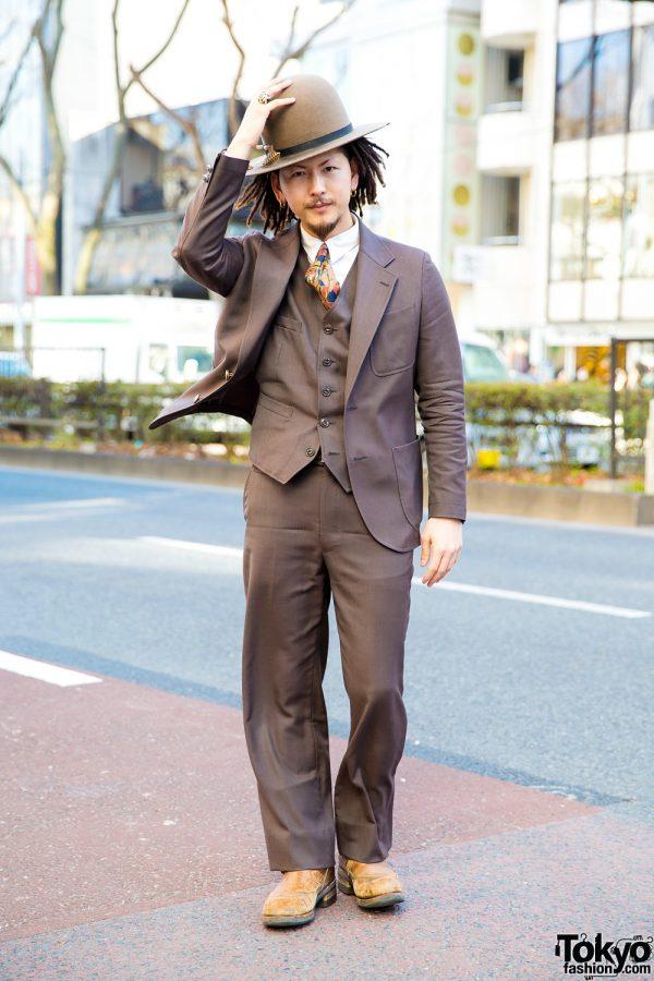 Japanese Creative Artist in Dapper Street Fashion w/ The Stylist Japan Suit, Bowler Hat & Dreadlocks